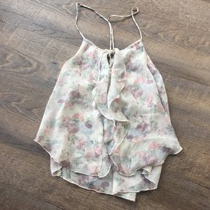 Abercrombie floral ruffle tank blouse